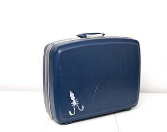 Vintage Upcycled Blue Squid  Suitcase