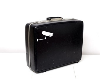 Black Vintage Samsonite Suitcase with Hand Painted Surveillance Camera