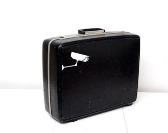 Black Vintage Samsonite Suitcase with Hand Painted Surveillance Camera