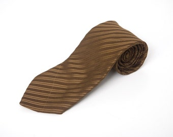 Men's Necktie / Vintage Brown Striped Tie