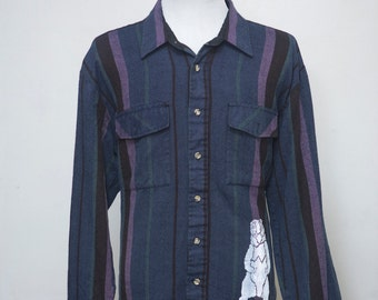 Men's Shirt / Upcycled Flannel Shirt with Screen Printed Bear / Size XL