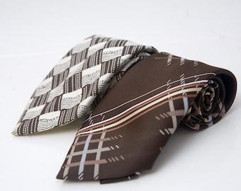 Men's Neckties / Pair of Vintage Brown Geometric Ties