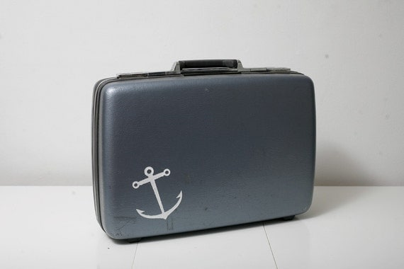 Vintage American Tourister Suitcase with Screen Printed Anchor