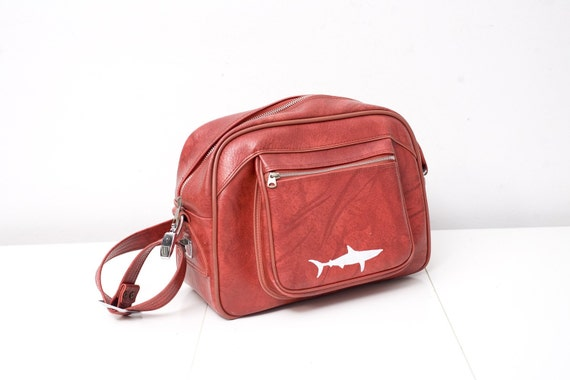 Red Hand Painted Carry On with Shark