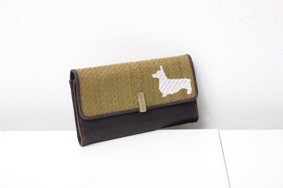Upcycled Billfold Wallet with Hand Painted Corgi