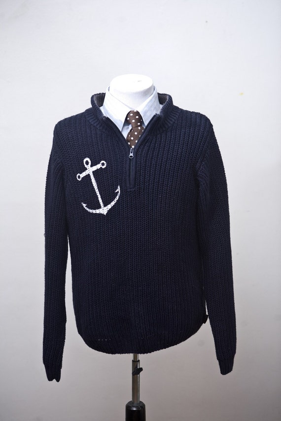 Medium Upcycled Woolrich Sweater with Screen Printed Anchor
