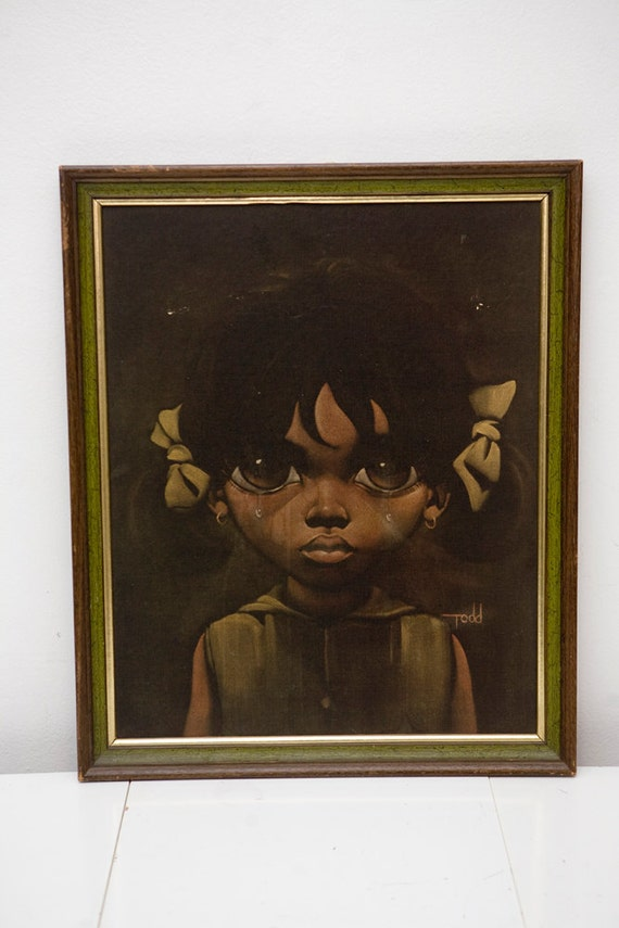 Vintage Print Big Eyed Girl