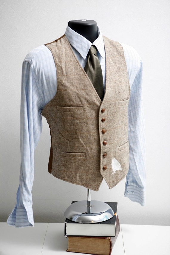 Vintage Upcycled Tweed Vest With Screen Printed By Brightwall