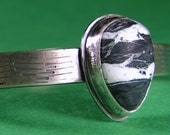 Black and White - White Bufffalo Cuff in Sterling Silver Small