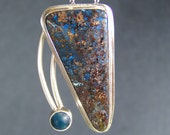 Shattuckite Chrysocolla with Blue Apatite Pendant in Sterling Silver