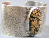 Black and Brown Sterling Silver Cuff Bracelet of Rare Stefoinite