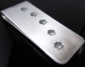 Walking the Dog - Paw Print Trail and Dog Bone Stash Money Clip in Sterling Silver