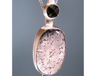 Black and White Plume Agate and Black Spinel Sterling Silver Pendant by Hennessey Jewelry