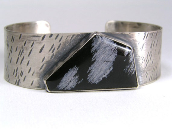 Black and White - Sterling Cuff with Snowflake Obsidian ON SALE