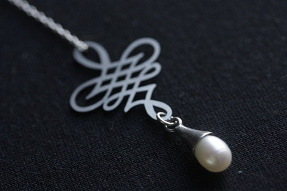 Stainless Steel Laser Cut Calligraphy Pearl Necklace