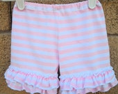 Double Ruffle Shorts in Light pink/white Stripe Knit fabric for little girls