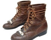vintage 80s 90s LAREDO brown leather COMBAT lace up METAL woven toe roper boots womens size 8.5