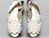 classic WHITE leather pink WOVEN 80s HUARACHE sandals size 8