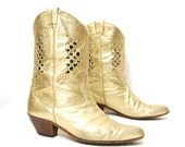 GOLD leather LATTICE cutout made in ITALY western boots size 8