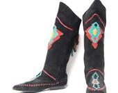 size 9 SOUTHWEST black leather 80s GEOMETRIC multicolor overlay MOCCASIN fringe boots