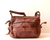 SLOUCHY brown leather 80s BOHEMIAN hobo large purse