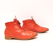 size 7.5 ORANGE vibrant leather 80s COMBAT fly girl ankle booties