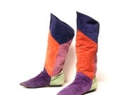 size 8 COLORBLOCK multicolor leather 80s KNEE HIGH tall boots