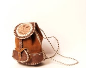 BOHEMIAN tan leather 80s WOVEN mini backpack