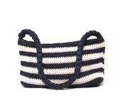NAUTICAL navy stripe 80s CROCHET handbag