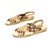 size 10 METALLIC gold leather 80s WOVEN MULTICOLOR huarache sandals