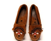 size 8 FRINGE brown suede leather MOCCASIN minnetonka loafers