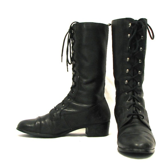 black leather high ankle lace up combat boots size 10