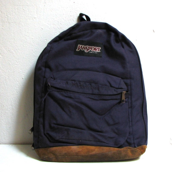 Vintage Leather Jansport Backpack Unisex Made In The Usa