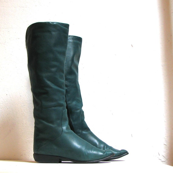 knee high turquoise teal leather boots size 6