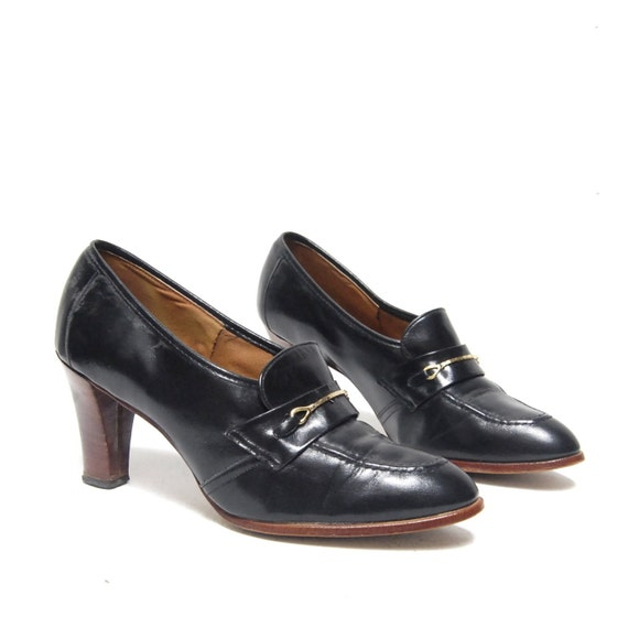 size 9 OXFORD black leather 60s BROGUE GOLD chain high heels on reserve for ironmouse