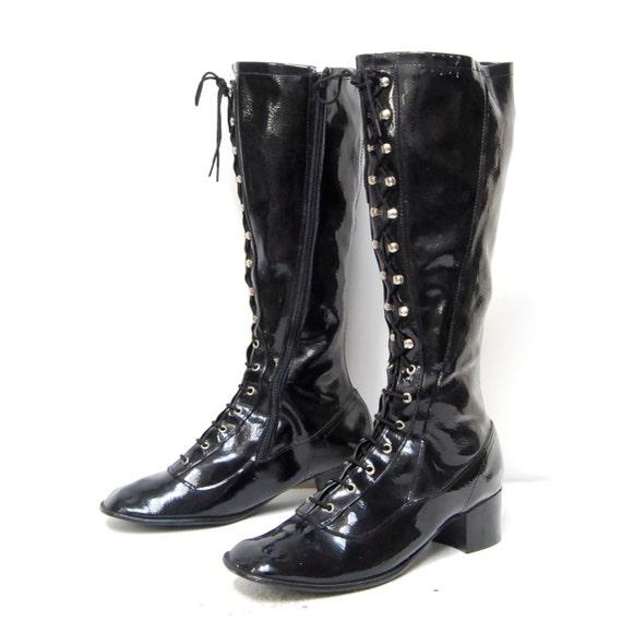 size 8 8.5 COMBAT knee high 80s BLACK VINYL lace zip up boots
