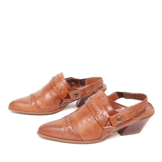 size 7.5 SOUTHWEST woven leather 80s CLOG BIKER slip on mules