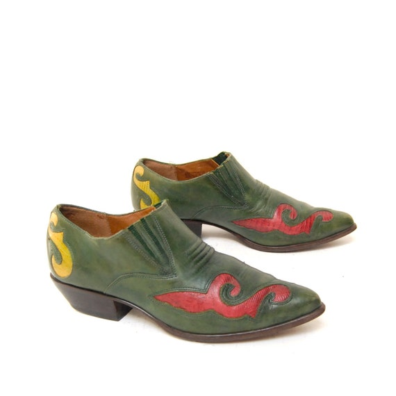 size 6.5 SOUTHWEST green leather 80s MULTICOLOR inlay ankle booties