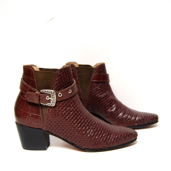 size 8 9 SOUTHWEST woven leather 80s BUCKLE high ankle boots