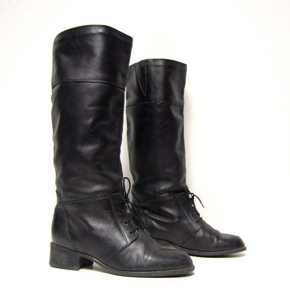 size 8.5 EQUESTRIAN black leather 80s KNEE HIGH lace up tall boots