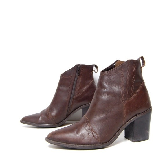 size 7.5 BOHEMIAN brown leather 80s SOUTHWEST zip up ankle boots on reserve for Justyna123
