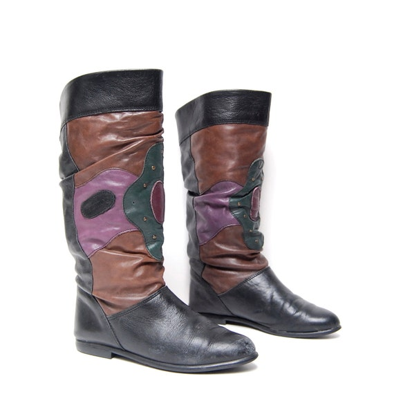 size 7 PSYCHEDELIC multicolor leather 80s COLORBLOCK swirl slouchy STUDDED boots