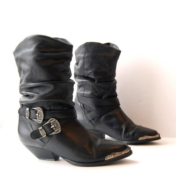 size 6.5 SOUTHWEST black leather 80s BUCKLE metal toe BIKER ankle booties
