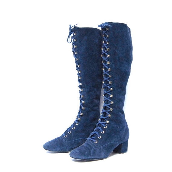 Size 6 Bohemian Navy Blue Suede 60s Gogo Gladiator Lace Up