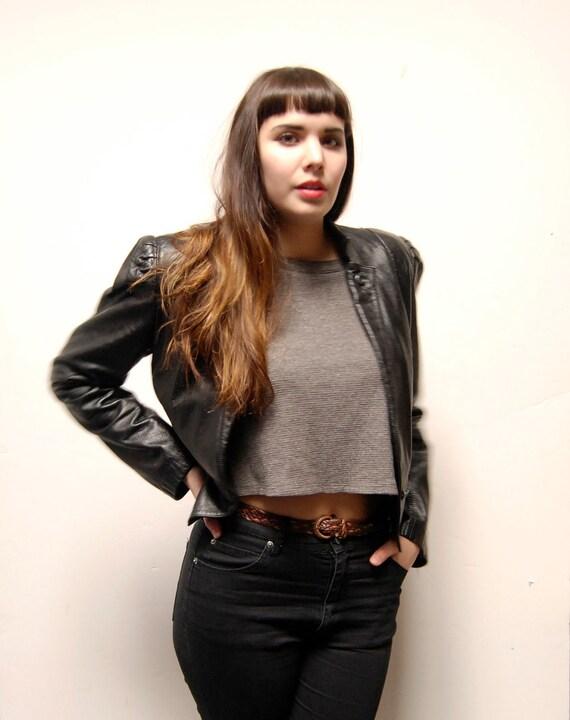 black leather 80s CROPPED jacket