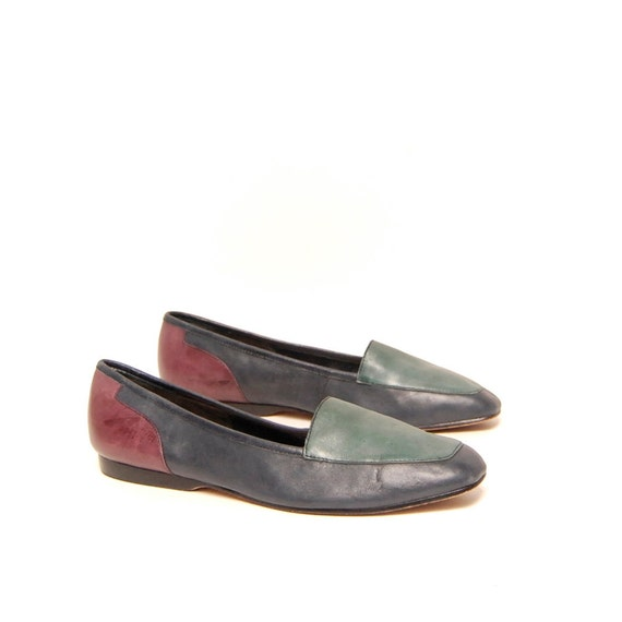 size 7.5 COLORBLOCK multicolor leather 80s MUTED slip ons