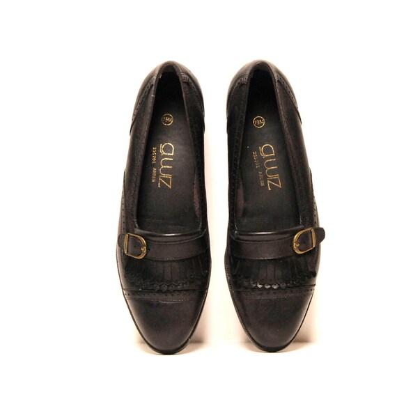 size 7.5  OXFORD black leather 80s FRINGE slip on loafers
