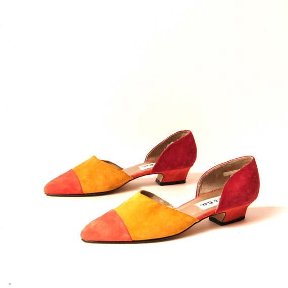size 9 COLORBLOCK multicolor leather 80s RAINBOW slip on flats