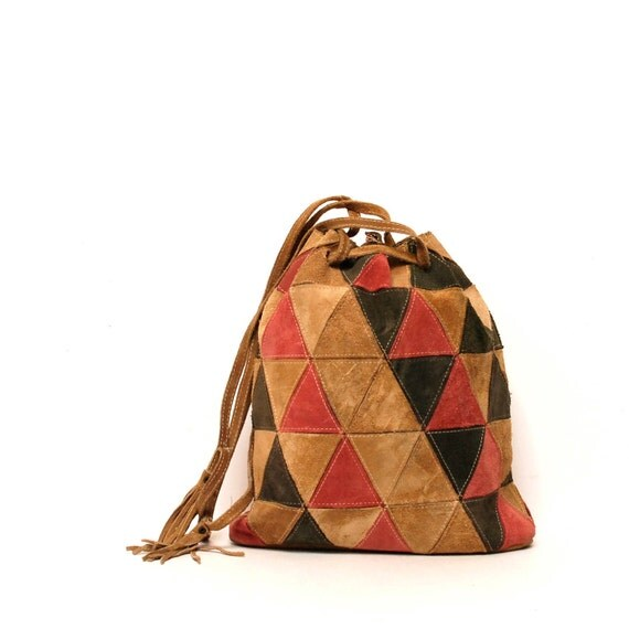 GEOMETRIC patchwork leather 70s TRIANGLE southwest purse