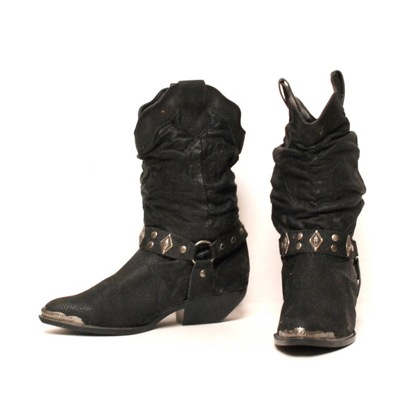 size 8.5 MOTORCYCLE slouchy black leather 80s BIKER HARNESS boots